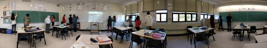 "Collaborative Inquiry — enjoying some ""thinking classroom"" conversations as we work on a 3-Act Math task from Dan Meyer using Vertical Non-Permanent Surfaces and Visibly Random Groups. Photo Credit: Laura Wheeler"